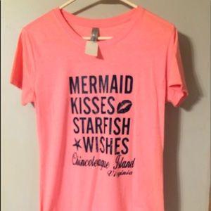 "Pink ""Mermaid Kisses Starfish Wishes"" Tee. Sz. XL"